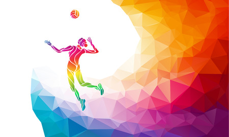 Ilustración de Creative silhouette of female volleyball player serving a ball. Beach sport, colorful vector illustration with background or banner template in trendy abstract colorful polygon style and rainbow back - Imagen libre de derechos