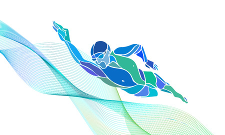 Freestyle Swimmer Black Silhouette. Sport swimming, front crawl. Vector Professional Swimming Color Illustration