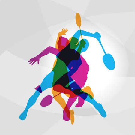 Illustration pour Modern Badminton Players In Action Logo. Color silhouettes of badminton players, sports poster background. Vector eps 10 - image libre de droit