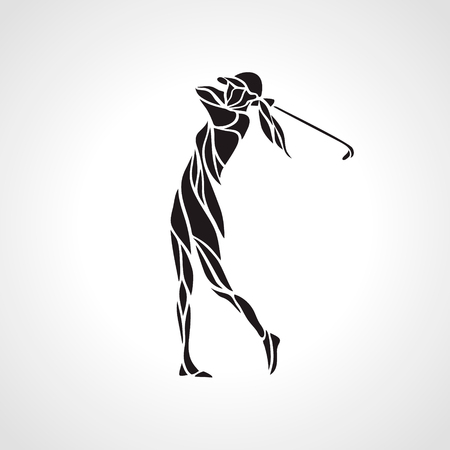 Illustration for Silhouette of woman golf player. Golfer logo. Vector eps8 - Royalty Free Image