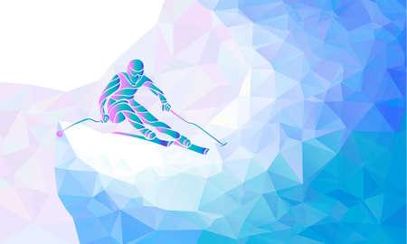 Illustration for Ski Racer silhouette. Color illustration geometric - Royalty Free Image