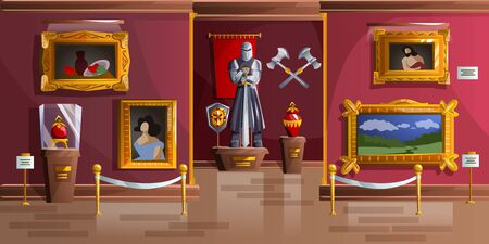Illustration pour Museum exhibition room cartoon vector illustration. Palace interior, art gallery of medieval castle, empty hall with ancient portraits, knight armor statue and ancient weapons on wall, game background - image libre de droit