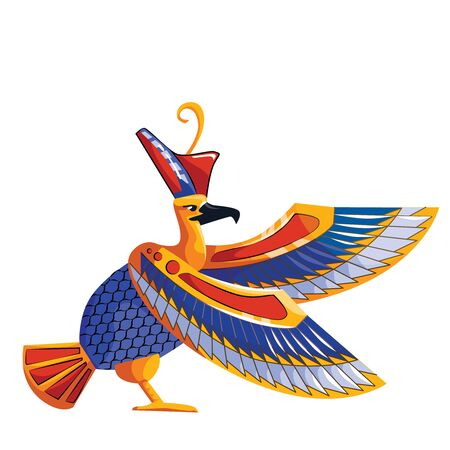 Ancient Egypt sacred bird falcon cartoon vector isolated on white background. Egyptian culture religious symbol, hawk figure, embodiment of great sun god Ra or Horus in pharaoh headdress