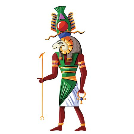 Ancient Egypt god source of Nile Khnum cartoon vector. Egyptian culture religious symbol, creator god with human figure and ram head with spiral-twisted horns and sacred symbols in his hands