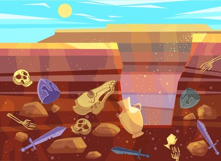 Illustration pour Archaeological excavations, cartoon vector illustration. Desert landscape with sand dunes, bright sun and dug pit. Underground soil with fossils and ancient artifacts in them, cross section - image libre de droit