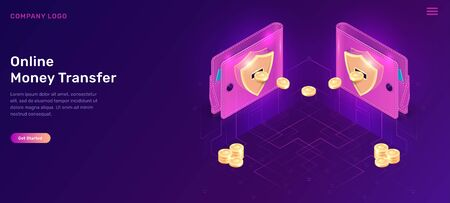 Online Money Transfer Isometric Concept