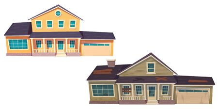 Illustration pour Old broken slum house and new cottage. Abandoned dilapidated building with boarded up windows and modern suburban home with garage. Vector cartoon wooden houses isolated on white background - image libre de droit