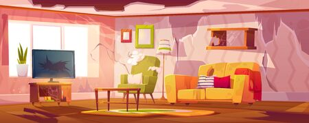 Illustration pour Old dirty living room with broken furniture. Vector cartoon illustration of empty abandoned home interior with mess, torn couch upholstery, crashed television and broken wooden floor - image libre de droit