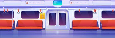Illustration pour Subway train car inside. Empty metro wagon interior. Vector cartoon illustration of underground railway carriage with closed doors, comfortable passenger seats and handrails. City public transport - image libre de droit