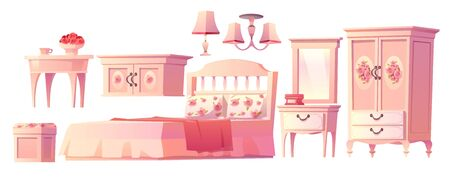 Illustration pour Shabby chic interior set for bedroom isolated on white background. with bed, nightstand, fireplace and hat on hanger. Vector cartoon pink furniture with bed, nightstand, mirror and cabinet - image libre de droit