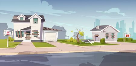 Illustration pour Abandoned houses for sale, crashed cottages with boarded up and broken windows, cracked walls and signboards on front yard. Old ruined buildings in downtown suburb area. Cartoon vector illustration - image libre de droit