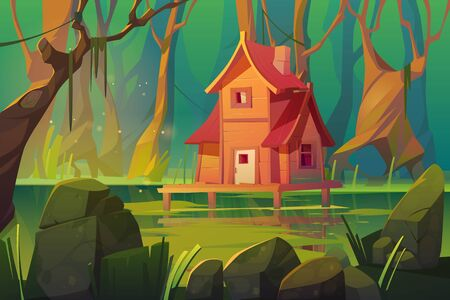 Illustration pour Wooden stilt house above swamp in forest. Abandoned shack stand on piles in deep wood, witch hut, computer game background, fantasy mystic nature landscape with marsh pond, Cartoon vector illustration - image libre de droit