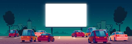 Illustration pour Outdoor cinema, drive-in movie theater with cars on open air parking. Vector cartoon summer night city with glowing blank screen and automobiles. Urban entertainment, film festival - image libre de droit
