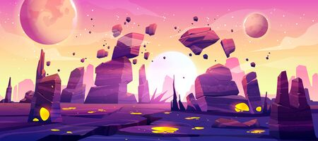 Illustration pour Alien planet landscape for space game background. Vector cartoon fantasy illustration of cosmos and planet surface with rocks, cracks, glowing spots and mist for gui game design - image libre de droit