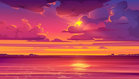Illustration pour Sea sunset. Tropical landscape with ocean, sky and clouds in red light of evening sun. Vector cartoon summer seascape with orange reflection in water and coastline silhouette on horizon - image libre de droit