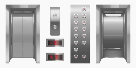 Illustration pour Realistic elevator cabin with closed, open doors inside view. Empty lift interior with chrome metal buttons and digital panel, office, hotel or dwelling indoors transportation 3d vector illustration - image libre de droit