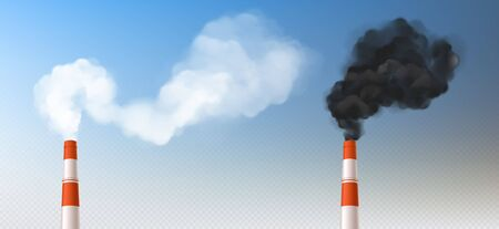Illustration pour Red white chimneys with smoke, pipes with steam set. Industrial smog clouds, factory or plant flues isolated on blu sky background, environmental air pollution concept realistic vector - image libre de droit