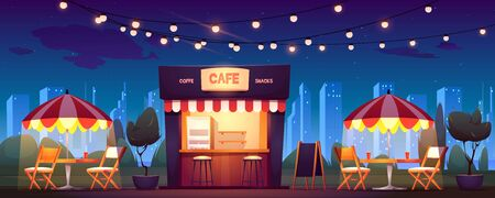 Illustration pour Street cafe with coffee and snacks at night. Vector cartoon cityscape with outdoor cafeteria with umbrellas, tables and chairs on sidewalk. Fast food shop in summer town park - image libre de droit