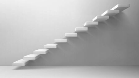 Illustration pour 3d stairs, white staircase on blank wall background. Way to business success, career ladder, architecture construction for building interior or exterior decoration. Realistic vector illustration - image libre de droit