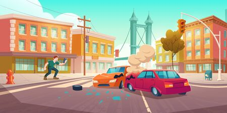 Illustration pour Man shoots car crash on smartphone. Auto accident on crossroad on city street. Vector cartoon cityscape with buildings, road, broken cars, smoke and shocked witness - image libre de droit