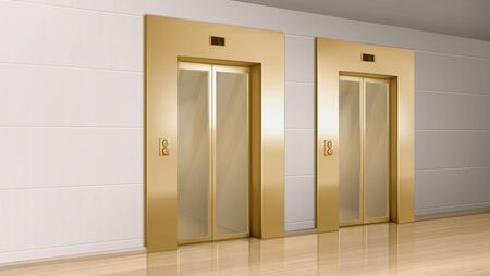 Illustration pour Golden elevator with glass doors in hallway perspective view. Vector realistic empty modern office or hotel lobby interior with luxury lift, panel with buttons and floor display on wall - image libre de droit