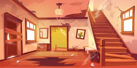 Illustration pour Old abandoned house with mess and broken furniture at daytime. Vector cartoon interior of empty home hallway with dirty walls, boarded up door, garbage, broken wooden staircase and crack in floor - image libre de droit