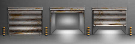 Illustration for Rusty garage doors, warehouse entrances with ferruginous close and open roller shutters. Empty hangar boxes, Realistic 3d vector storage for car parking, rooms for repair service with metal doorways - Royalty Free Image
