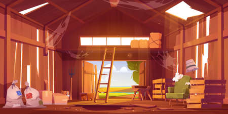 Illustration pour Abandoned barn interior with broken furniture, spiderweb and destroyed floor. Neglected farm house, ranch with haystacks, sacks, fork and open gate, old storehouse building Cartoon vector illustration - image libre de droit
