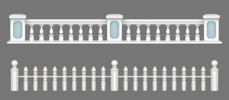 Illustration pour White marble balustrade, handrail for balcony, porch or garden in classic roman style. Vector realistic set of stone railing sections, banister with pillars and decorative columns - image libre de droit