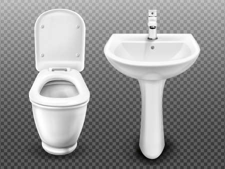 Illustration pour White toilet bowl and sink for bathroom, modern WC or restroom. Vector realistic ceramic wash basin with tap and lavatory with flush tank and open seat lid isolated on transparent background - image libre de droit