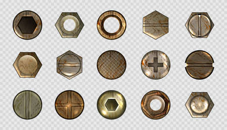 Illustration for Old screw and nail heads, steel metal bolts, rusty rivets hardware. Round and hexagon copper or brass caps top view isolated on transparent background. Realistic 3d vector illustration, icons set - Royalty Free Image