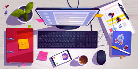 Illustration pour Top view of workspace with computer, stationery, coffee cup and plant on wooden table. Vector cartoon flat lay of workplace with monitor, keyboard, mobile phone, note book and headphones on desk - image libre de droit