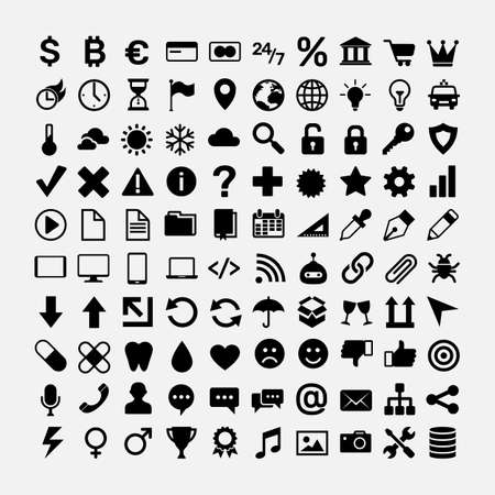 Illustration pour Set of black icons for website design. Business, money and finance, currency, travel and journey, weather, data security and electronics devices, health, internet communication, music vector symbols - image libre de droit