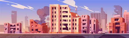 Illustration pour City destroy in war zone, abandoned buildings with smoke. Destruction, natural disaster or cataclysm consequences, post-apocalyptic world ruins with broken road and street cartoon vector illustration - image libre de droit