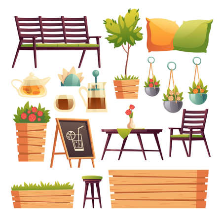 Illustration pour Cafe or restaurant terrace with wooden bar counter, seats, flowers and plants. Vector cartoon set of furniture for outdoor cafeteria, chair, bench, table, tea pot and cup isolated on white background - image libre de droit