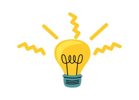 Illustration pour Light bulb with yellow glowing rays, cartoon vector illustration, idea symbol - image libre de droit