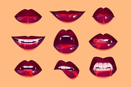 Illustration pour Vampire mouth with fangs set. Female closed and open red lips with long pointed canine teeth and bloody deip saliva express different emotions isolated on yellow background Cartoon vector illustration - image libre de droit