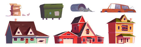 Illustration for Old abandoned houses, trash bin and broken car - Royalty Free Image