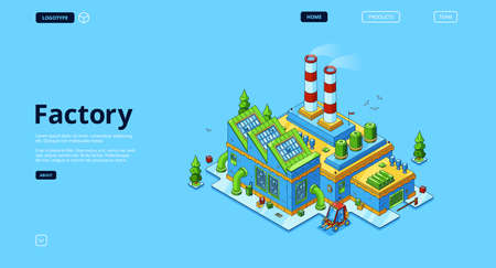 Illustration for Factory banner. Modern industry building, power station or manufactory. Vector landing page with isometric production plant exterior with chimney pipes, warehouse and forklift - Royalty Free Image