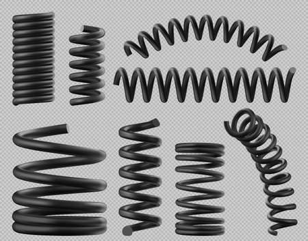 Illustration for Black spring coils, flexible spiral metal wire. Vector realistic set of plastic or steel elastic springy coils different shapes for suspension or machine absorber isolated on transparent background - Royalty Free Image