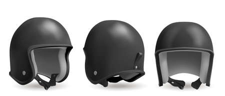 Illustration for Retro motorcycle helmet in front, back and angle view. Head protection equipment for bike and motorbike race. Vector realistic 3d vintage black biker helmet isolated on white background - Royalty Free Image