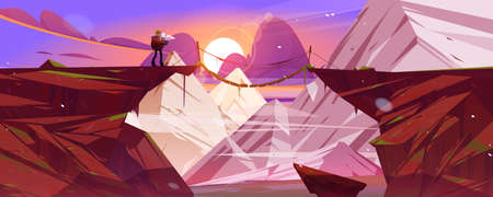Illustration pour Mountain landscape at sunset with hiker man and suspension bridge over precipice between cliffs. Vector cartoon illustration of snow rocks, wooden rope bridge over abyss and tourist with backpack - image libre de droit