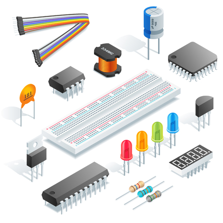 Illustration pour Isometric electronic components isolated on white background vector illustration. - image libre de droit