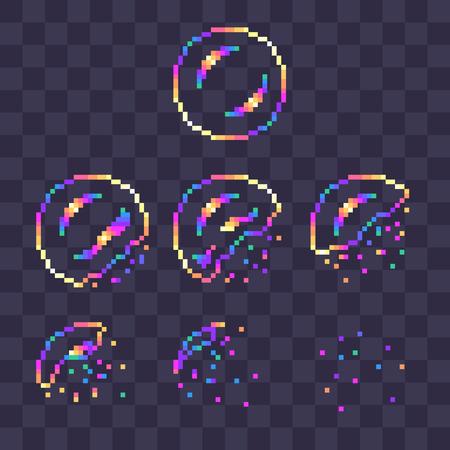 Pixel art rainbow soap bubble burst sprites for animation