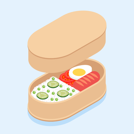 Japanese traditional lunch box bento with rice, sausage, tomatoes, egg and cucumbers.の素材 [FY310114990275]