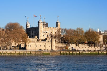 The Tower of London seen across the river Thames in a clear day