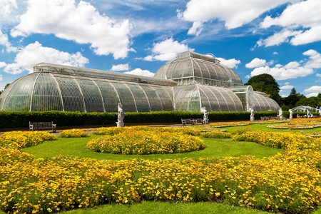 Greenhouse at Kew Gardens in London on a beautiful summer day
