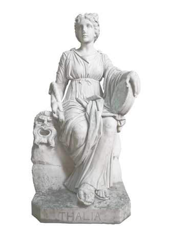 Ancient statue of Thalia, the geek muse of poetry and theater, isolated on a white background