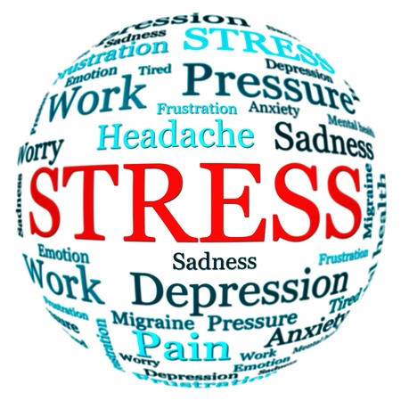 Stress related text arrangement  word cloud  with spherical form and the word STRESS in red uppercase isolated on white