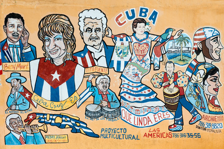Street painting portraying several famous cuban musicians and cultural icons in Little Havana, Miami